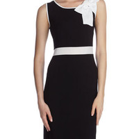 Bow-Neck Two-Tone Knit Dress, Black/Bleach