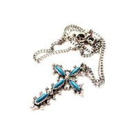 Vintage Turquouise Cross Silver Chain Necklace