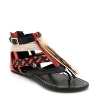 strappy-feather-accent-sandals BLACK - GoJane.com