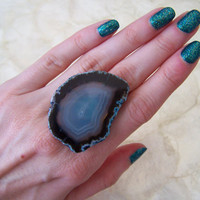 Tranquil Blue Banded Agate Slice Ring  Festival by VictoryJewelry