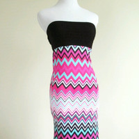 Chevron spandex strapless summer dress multi color