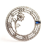 Antique Art Deco Sterling Silver Wreath Brooch -  Vintage Floral Filigree Jewelry Pin / Sapphire Blue Accent