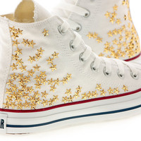 Studded White Converse Gold Star Studs with converse White high top by CUSTOMDUO on ETSY