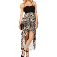 BlackWhite Strapless Hi Lo Dress