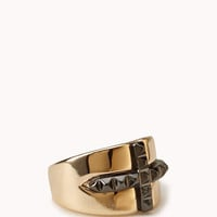 Pyramid Studded Cross Ring