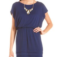 Bottom Pleat Boatneck Dress: Charlotte Russe