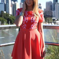 Red Cap Sleeve Dress with Printed Top and Skater Skirt