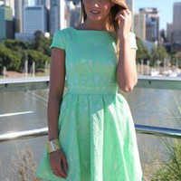 Green Print Cap Sleeve Dress with Fitted Top & Skater Skirt