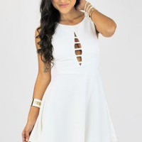 White Chest Cutout Skater Dress