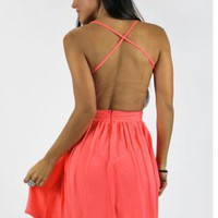 Peachy Coral Skater Dress with Open Back