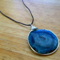 Blue Stalactite Necklace - Wire Wrapped Stone Necklace - Blue Druzy Necklace - Leather and Stone Necklace