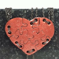 Heart Shaped Puzzle Necklaces 6 Necklaces Bronze Polymer Clay