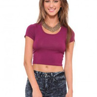Clarissa Crop Tee - Magenta - Tops - Clothes | GYPSY WARRIOR