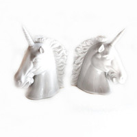 Retro Unicorn Bookends, White Ceramic Porcelain