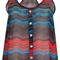 FULL TILT Ethnic Button Womens Tank