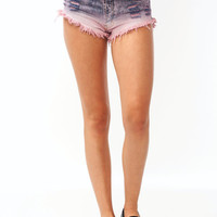 Distressed-Dip-Dye-Shorts PINK - GoJane.com