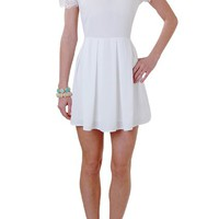 Camille Lace Dress - Peter Pan Collar Short Sleeve Dress - Humblechic.com