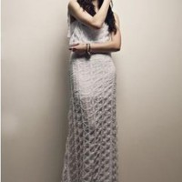 White Light Knit Lace Maxi Dress