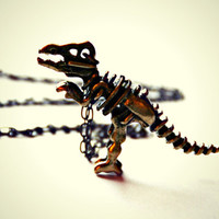 antique brass T-rex skeleton necklace