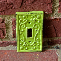 Lime Green Decorative Light Switch Plate by AquaXpressions... Bright Shabby Chic Decor by Aqua Xpressions