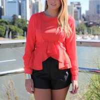 Red Long Sleeve Top with Frill Hem Trim & Cuffed Wrist