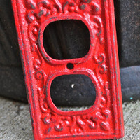 Red Decorative Outlet Cover by AquaXpressions.... Bright Shabby Chic Decor by Aqua Xpressions