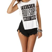 White Parental Advisory Tee
