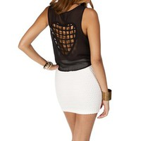 Black Cage Heart Back Top