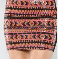 Sequin Aztec Mini Skirt