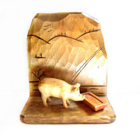 Signed Quebec Folk Art Pig Sculpture, Carving, Wall Hanging