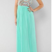 Mint Strapless Aztec Maxi Dress