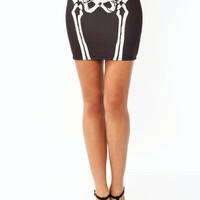 Skeleton-Mini-Skirt WHITEBLACK - GoJane.com