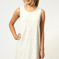 Ashlie Corsage Neck Trim Lace Shift Dress