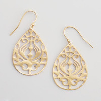 Gold Carved Teardrop Earrings