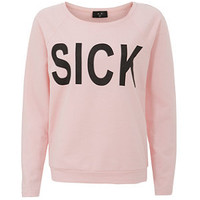 AX Paris Pink Sick Slogan Sweater
