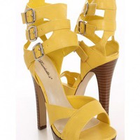 Yellow Faux Leather Strappy Heels