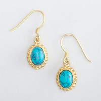 Turquoise and Gold Small Drop Earrings