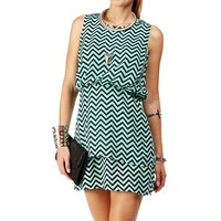 MintBlack Chevron Bloussant Dress