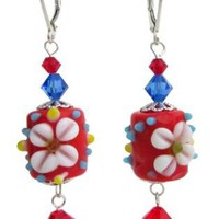 Red Flower Lampwork Earrings Sterling Earrings