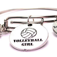 Volleyball Girl Two Expandable  Cuff  Bracelets with Crystal beads  Free shipping