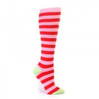 Pink & Red Striped Knee High Socks