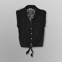 Bongo- -Junior's Lace Shirt-Clothing-Juniors-Tops