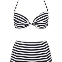 Navy Push Up Bikini Top and High Waisted Bikini Pants - Bikini Sets - Swimwear  - Clothing - Topshop USA
