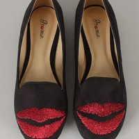 Promise Kisses Embroidered Lip Loafer Flat