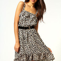 Lydia Ruffle Bust and Hem Crepe Strappy Dress