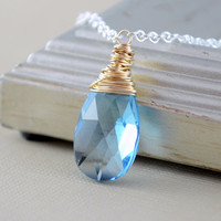 NEW Aquamarine Blue Crystal Necklace, Mixed Metals, Swarovski Crystal, Gold with Silver Plated Chain, Wire Wrapped Jewelry