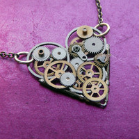 Clockwork Heart Necklace Tiny Love by amechanicalmind