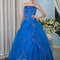 Cheap Ball Gown Strapless Floor-length Beading Organza Blue Prom Dresses [10125108] - US$175.99 : DressKindom
