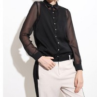 Black Chiffon Blouse with Semi-sheer Long Sleeves