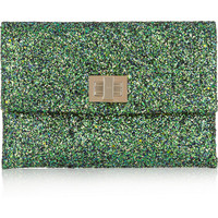 Anya Hindmarch Valorie glitter-finished leather clutch – 45% at THE OUTNET.COM
